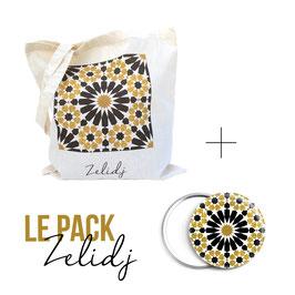 Pack tote-bag et miroir Zelidj - noir et doré glitter