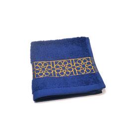 Serviette brodée Zellij, bleu roy et or 30 x 30cm