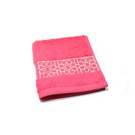 Serviette brodée Zellij, pink et argent 30 x 30cm
