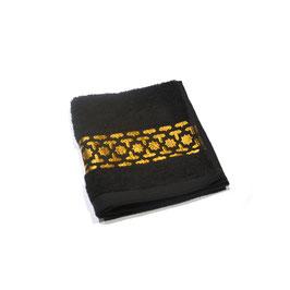Serviette brodée Orient, noir et or 30 x 30cm