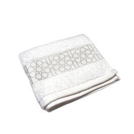 Serviette brodée Zellij, blanc et argent 40 x 70cm