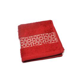 Serviette brodée Zellij, rubis et argent 30 x 30cm