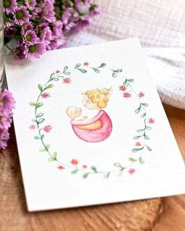Postkarte Mutter und Kind