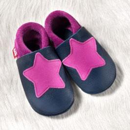Hausschuh Leder kleiner Stern Pink