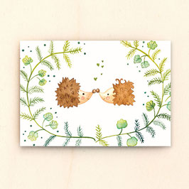 Postkarte Igelliebe
