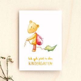 """Postkarte """"Ich geh jetzt in den Kindergarten"""""""