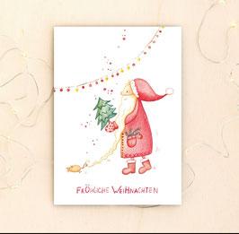 """Postkarte """"Fröhlicher Weihnachtsmann"""""""