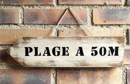 """Flèche personnalisable """"plage 50"""" blanche"""