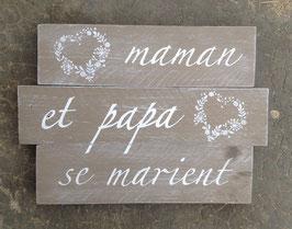 """Mariage, tableau personnalisable """"maman et papa"""" taupe patiné"""