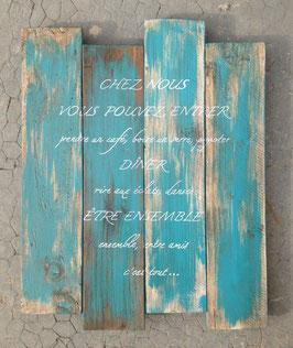 """Tableau personnalisable """"chez nous"""" turquoise poncé"""