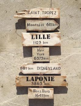 """Panneau de direction personnalisable """"St Tropez"""" blanc poncé"""