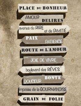 """Grand panneau directionnel """"place du bonheur"""" personnalisable taupe patiné"""
