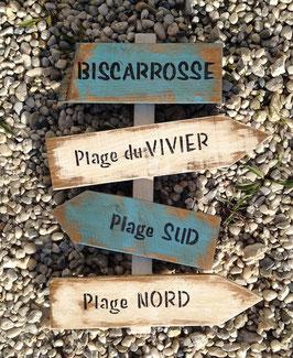 """Panneau de direction personnalisable """"Biscarrosse"""" turquoise poncé"""