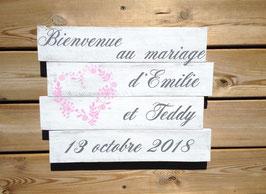 Mariage, tableau de bienvenue blanc, personnalisable, coeur champêtre