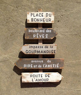 """Panneau directionnel """"place du bonheur"""" personnalisable gris poncé"""