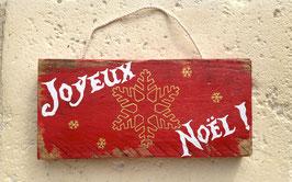 """Décoration de Noël, personnalisable, pancarte rouge vieillie """"joyeux"""""""