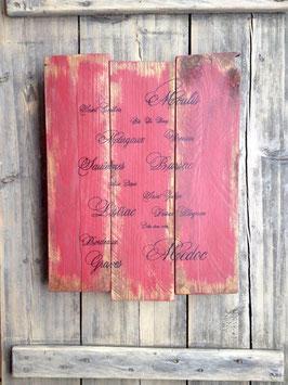 """Tableau personnalisable """"Bordeaux"""" vieilli poncé"""