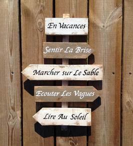"""Panneau directionnel personnalisable """"sable"""" taupe patiné"""