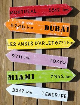 """Panneau fléché personnalisable """"Dubaï"""" multicolore patiné"""