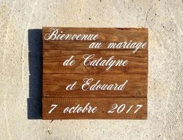 Mariage, tableau de bienvenue personnalisable, bois