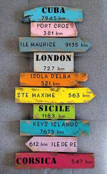 """Panneau de direction personnalisable """"Sicile"""" multicolore poncé"""
