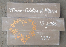Mariage, tableau personnalisable coeur champêtre taupe patiné