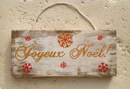 """Décoration de Noël, personnalisable, pancarte blanche vieillie """"joyeux Noël"""""""