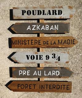 """Panneau fléché personnalisable """"Magie"""" bois/gris poncé"""