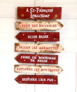 """Panneau directionnel personnalisable """"Longchamp"""" rouge"""