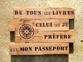 """Tableau personnalisable """"passeport"""" bois"""