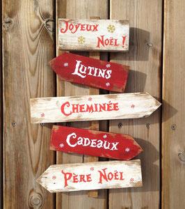 Décoration de Noël personnalisable, panneau blanc et rouge fléché en bois de palette