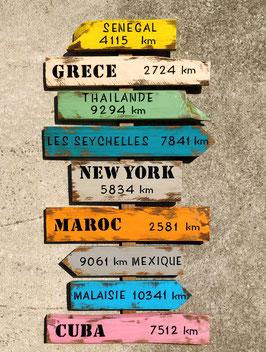 """Panneau directionnel personnalisable """"Grèce"""" poncé"""