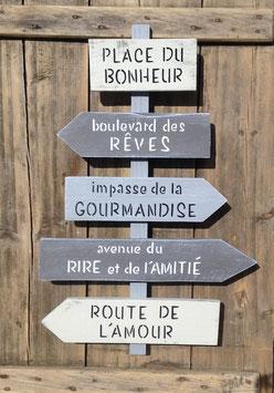 """Panneau directionnel """"place du bonheur"""" personnalisable gris patiné"""
