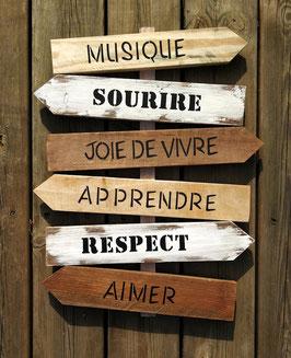 """Panneau fléché personnalisable """"Musique"""" bois"""