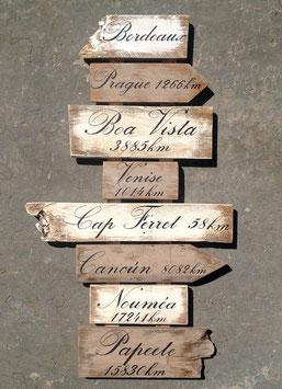 """Panneau de direction personnalisable """"Bordeaux"""" taupe poncé"""