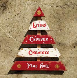 Décoration de Noël, sapin à suspendre rouge et blanc en bois de palette