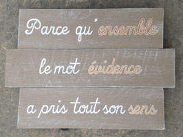 """Mariage, tableau personnalisable """"évidence"""""""