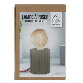 LAMPE A POSER CYLINDRE BOIS CABLE ROUGE