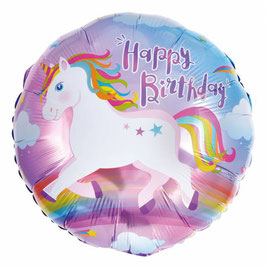 Folienballon Einhorn Happy Birthday