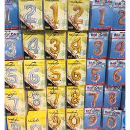 Zahlen Folien Ballons Silber Gold Goldrose
