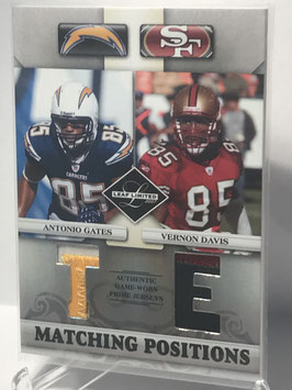 Antonio Gates/ Vernon Davis (Chargers/ 49ers) 2007 Leaf Limited  Matching Positions Prime #MP-19