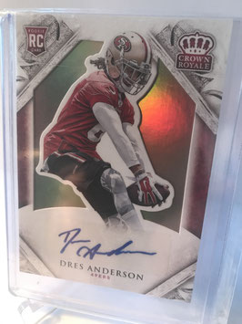 Dres Anderson (49ers) 2015 Crown Royale Rookie Autograph Gold #187