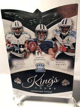 Marcus Mariota/ Bishop Sankey/ Kendall Wright (Titans) 2015 Crown Royale Kings Court #KC3