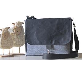 Tasche aus Segeltuch Unisex NILS Grau & Schwarz