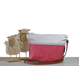 Tyvek Tasche MELLE Maxi in Weiß & Himbeere stilvolle Sommertasche