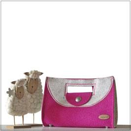 Filztasche PETRA pink & weiß
