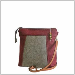 Lodentasche LEYLA Rot-Grau - mittelgroße Handtasche