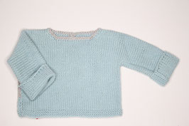 Babyhemdchen Merino7Baumwolle babyblau/beige
