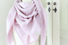 Musselintuch rosa mit Sternchen.