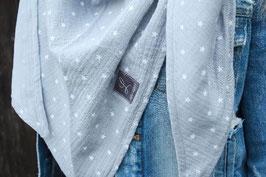 Musselintuch in hellblau mit Sternchen